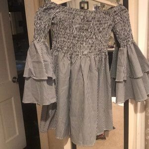 Gray/White Off the Shoulder Bell Sleeve Dress
